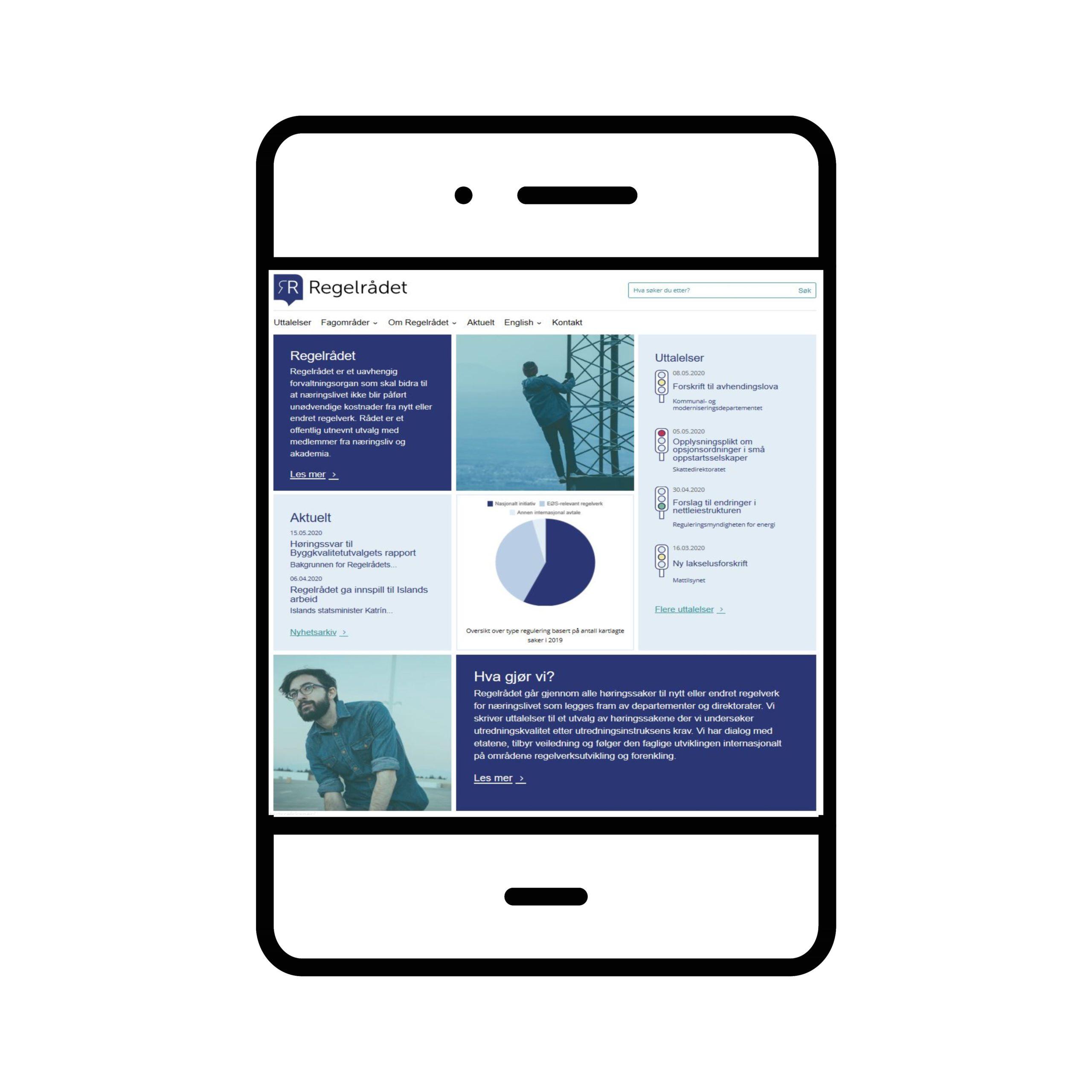 Illustrasjon av nettbrett med ny nettside